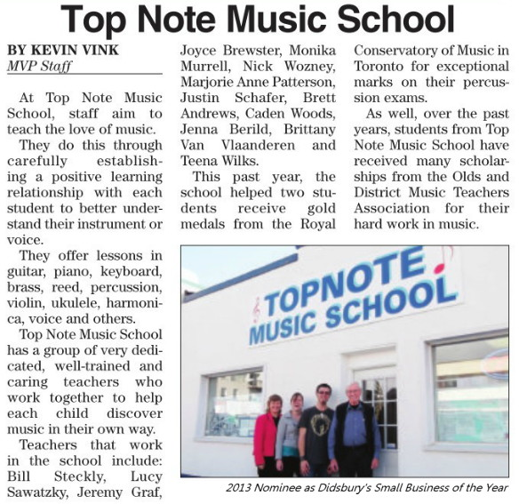 Top Note Music School was nominated as the 2013 Small Business of the Year during the Didsbury Chamber of Commerce Awards celebrations.